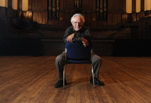 Conductor Nicholas Braithwaite of Australia in the Dunedin Town Hall. Photo Courtesy of Otago Daily Times
