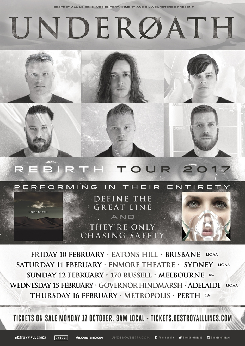 Underoath Australian Tour They're Only Chasing Safety Define The Great Line Aaron Gillespie